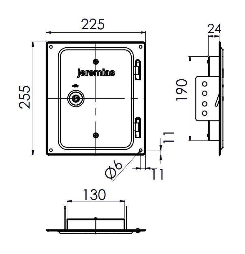 Kamintür Edelstahl 210 x 140 mm - einwandig für Tecnovis TEC-EW-Classic
