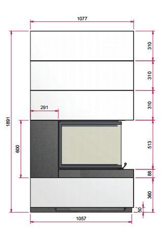 Kaminbausatz Camina S14 9kW Speicheranlage inkl. Feuertisch