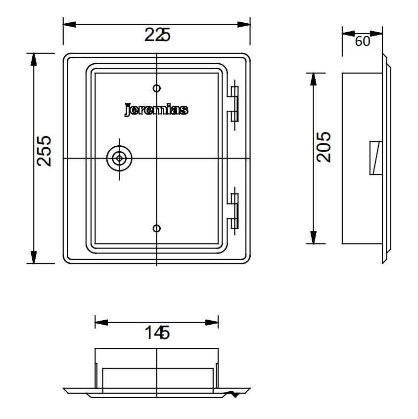 Kamintür Edelstahl 210 mm x 140 mm mit Rußschutztüre und 60 mm Schiebestutzen für Tecnovis TEC-EW-Classic