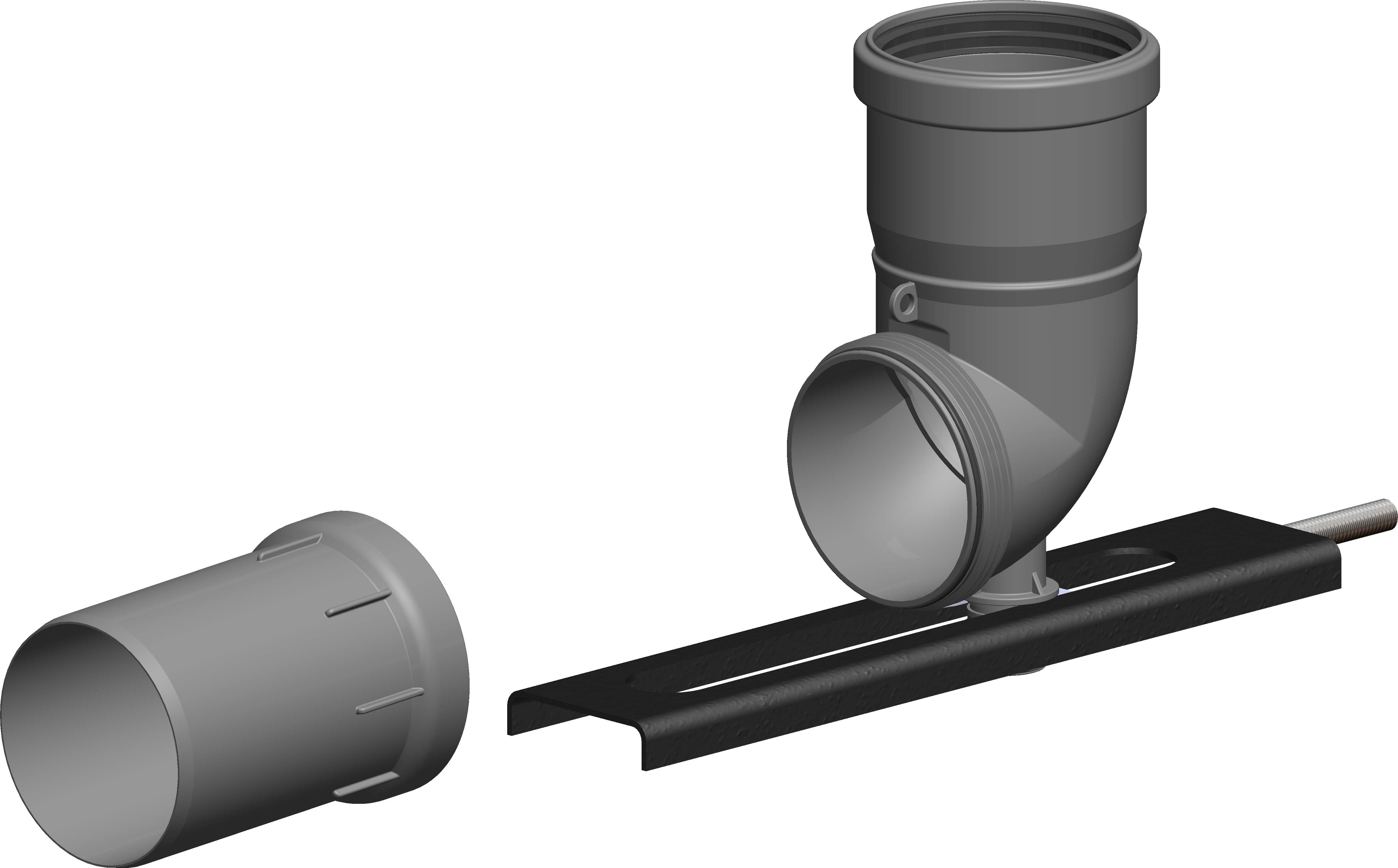 Schachteinführung mit Auflager und Stutzen, schraubbar Ø 80 mm - Kunststoff für Jeremias EW-PPS