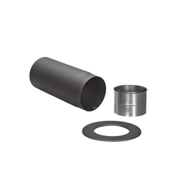 Ofenrohr - Anschluss-SET hinten - schwarz - Tecnovis TEC-Stahl