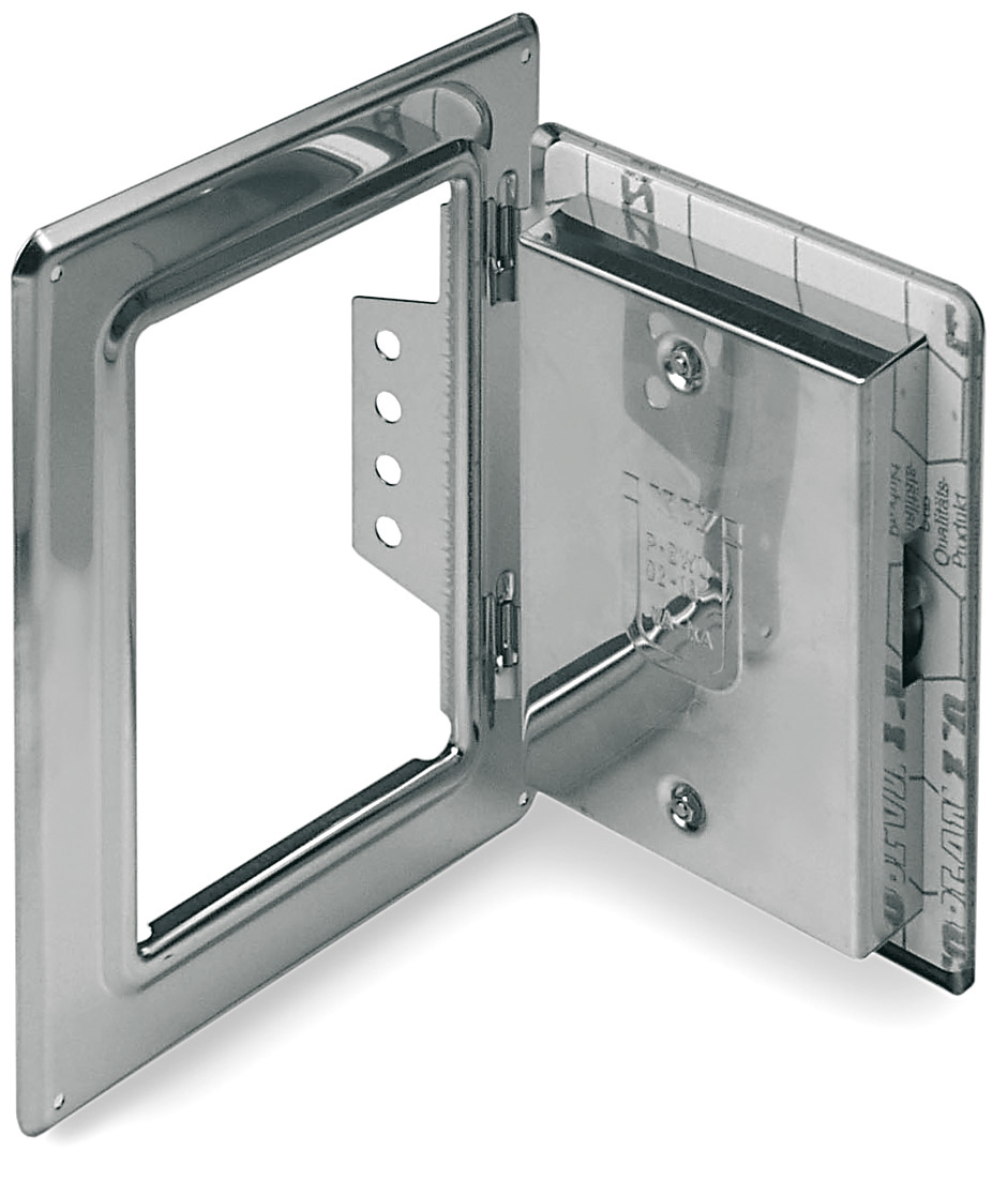 Kamintür Edelstahl 300 mm x 200 mm mit Schiebestutzen 50 mm für Tecnovis TEC-EW-Classic