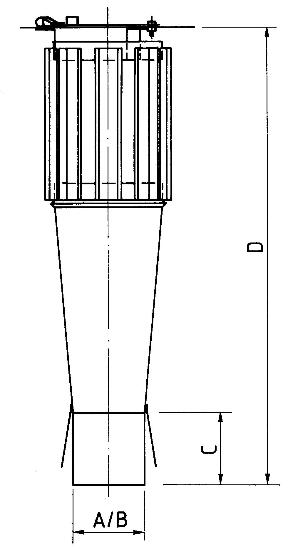 Schornsteinaufsatz einwandig - Schlitz Haube - 2300 mm Höhe
