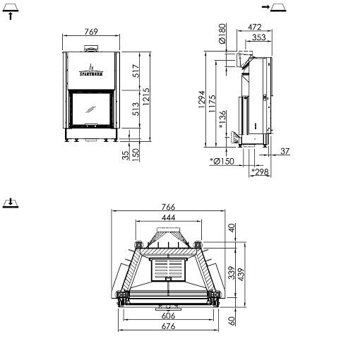 Kamineinsatz SPARTHERM Mini Sh 7kW Schiebetür raumluftunabhängig