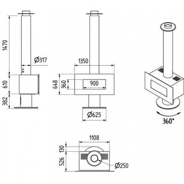 Kaminofen M-design Venus 1000HT 10kW drehbar