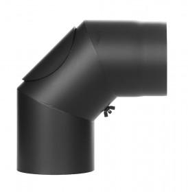 Ofenrohr FERRO1407 - Winkel 90° schwarz mit Tür