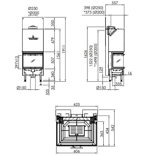 Kamineinsatz SPARTHERM Arte 3RL-60h 10kW Panoramakamin Schiebetür