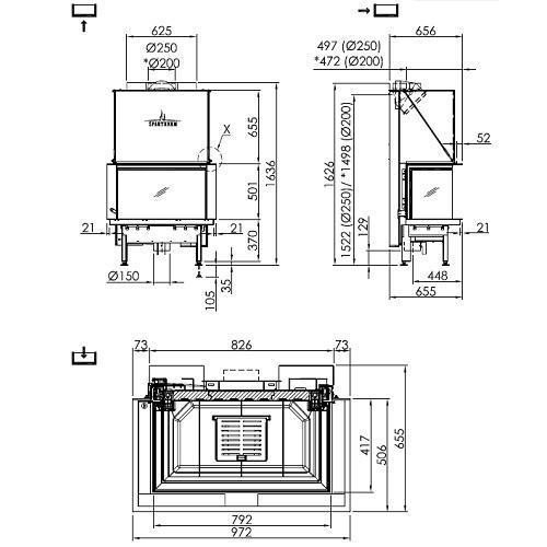 Kamineinsatz SPARTHERM Premium A-3RL-80h 11,4kW Panoramakamin Schiebetür