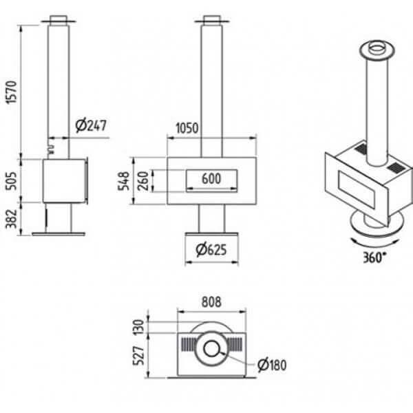 Kaminofen M-design Venus 700HT 8kW drehbar