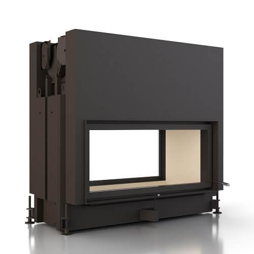 Kamineinsatz Brunner Architekturkamin 45/101 Schiebetür/Kipptür Durchsicht Warmluftaufsatz seitlicher Abgang, 14kW