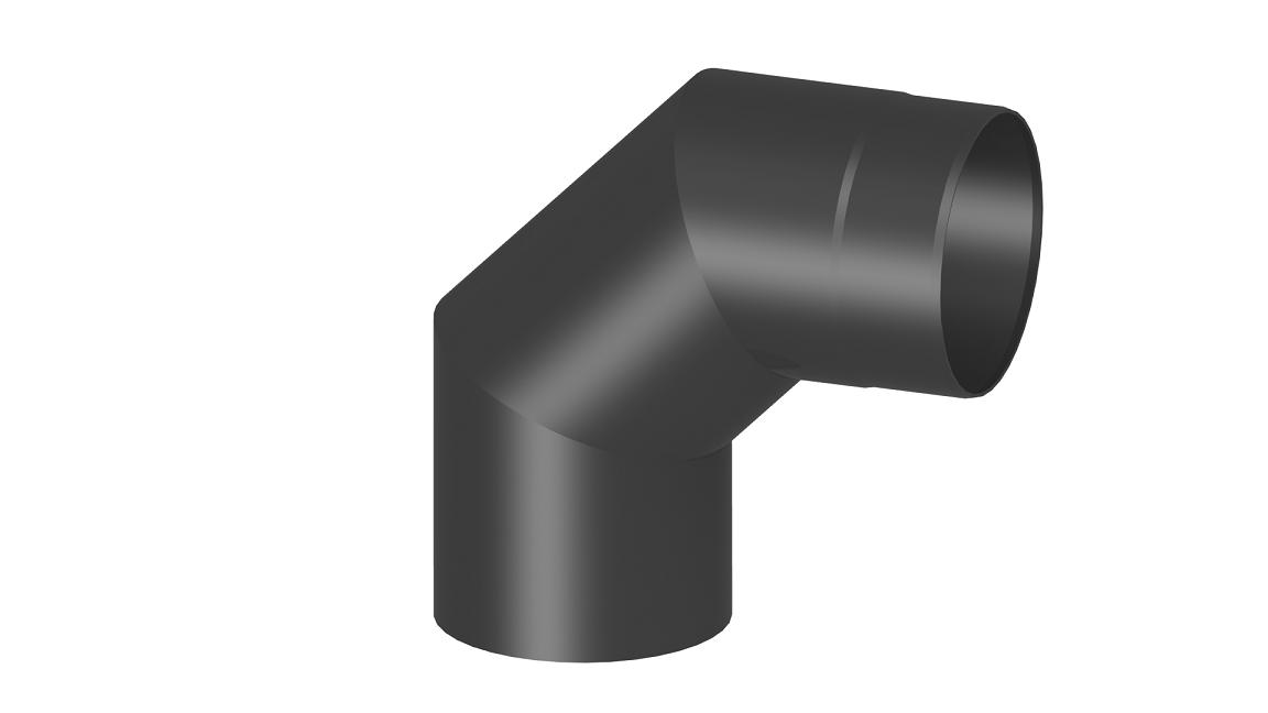 Ofenrohr - Winkel 90° ohne Tür schwarz - Tecnovis TEC-Stahl