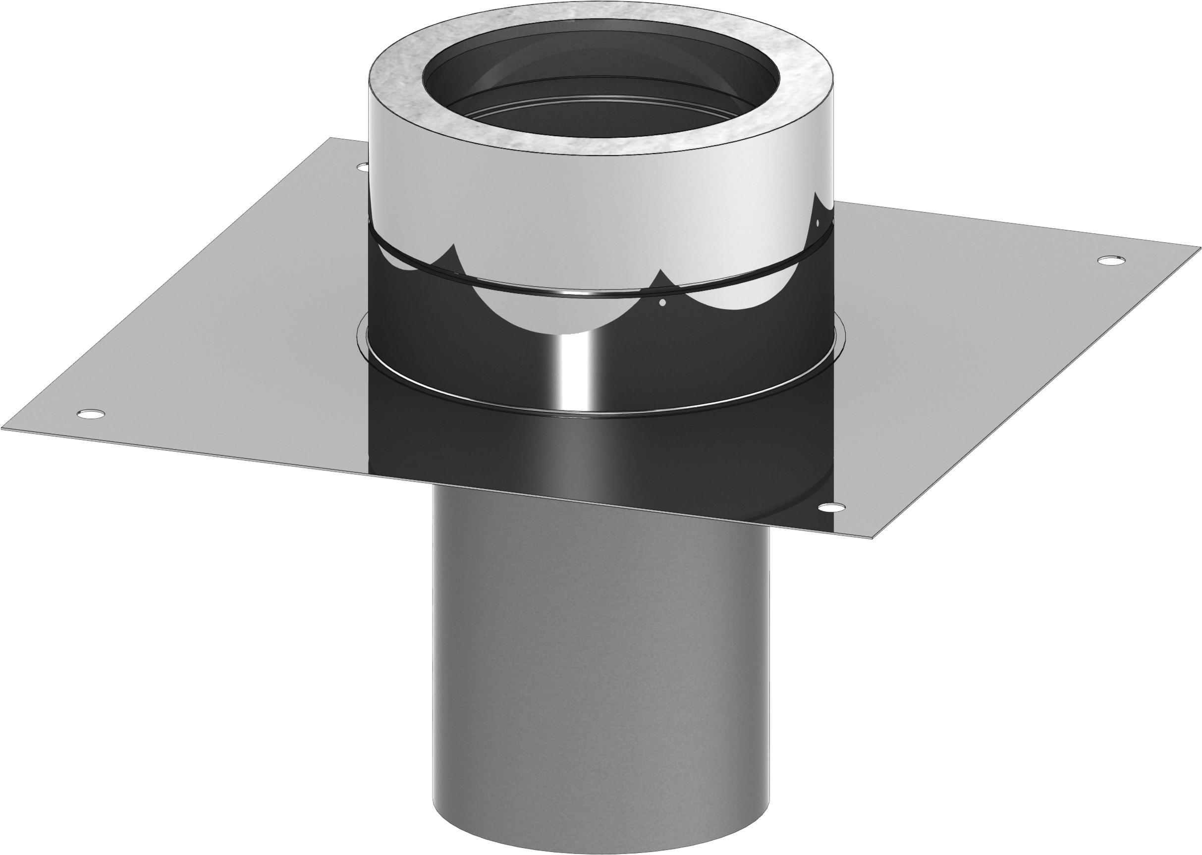 Grundplatte für Kaminerhöhung mit rundem Einschub - doppelwandig - Tecnovis TEC-DW-Standard