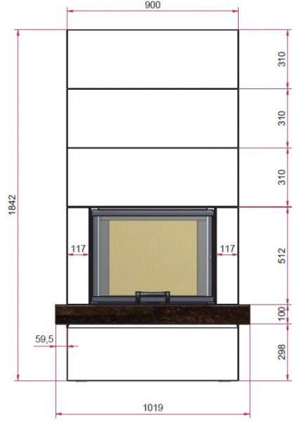 Kaminbausatz Camina S13 9kW Speicheranlage inkl. Feuertisch