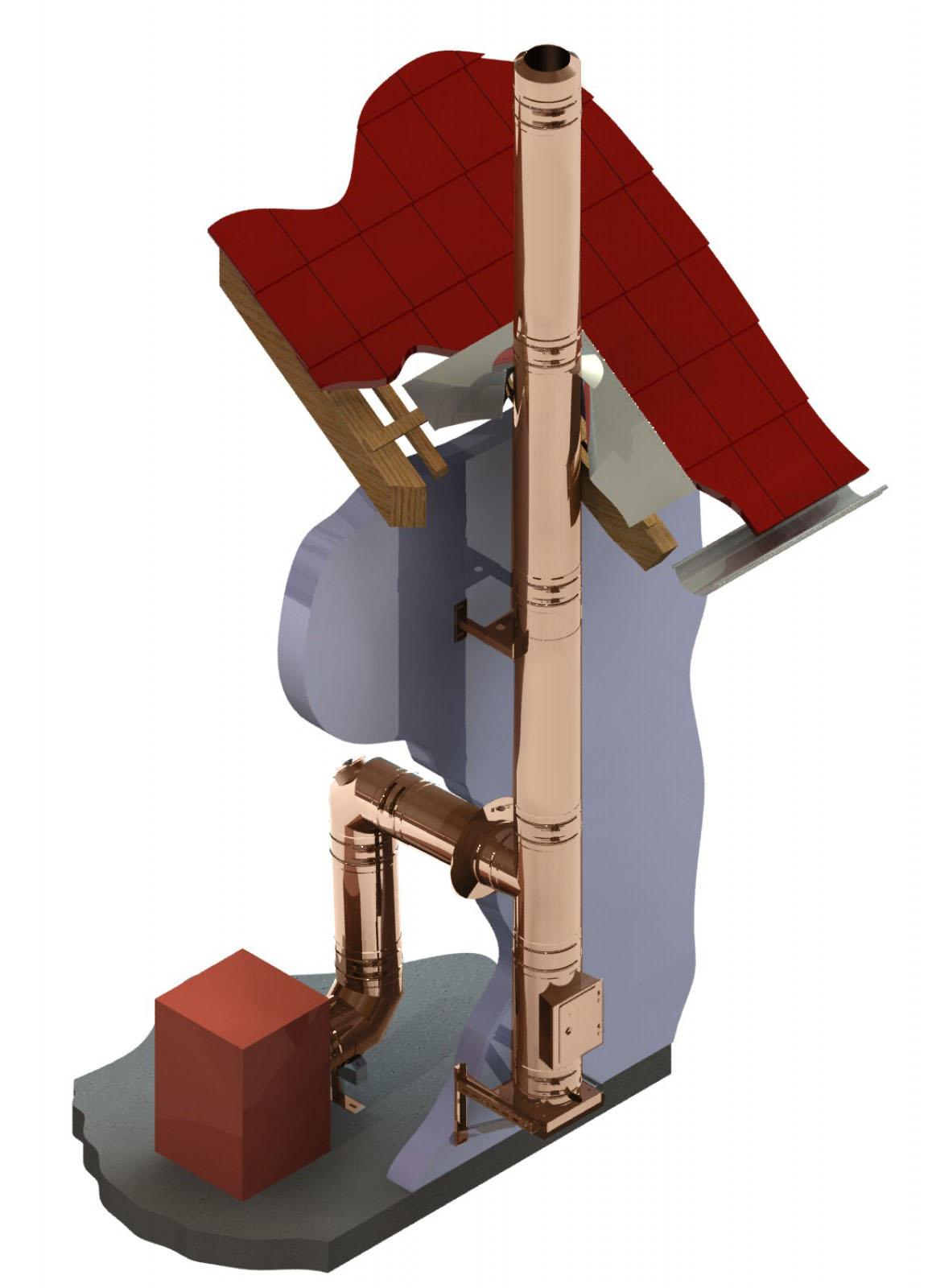 Kupferschornstein doppelwandig Bausatz Ø 300 mm – Tecnovis TEC-DW-FU
