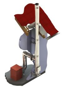Edelstahlschornstein DW-Silver Aufbaumodell