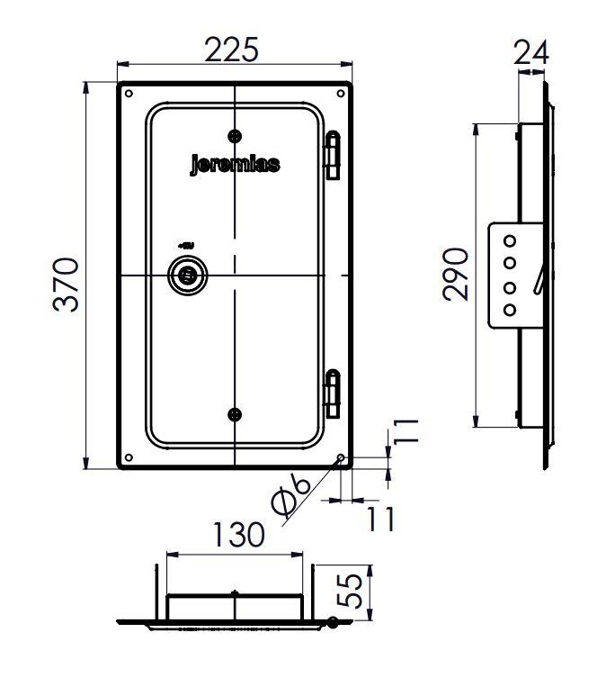 Kamintür 300 mm x 150 mm Edelstahl für Tecnovis TEC-EW-Classic
