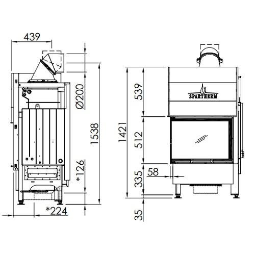Kamineinsatz SPARTHERM Varia 2Lh H2O 10,4kW wasserführend