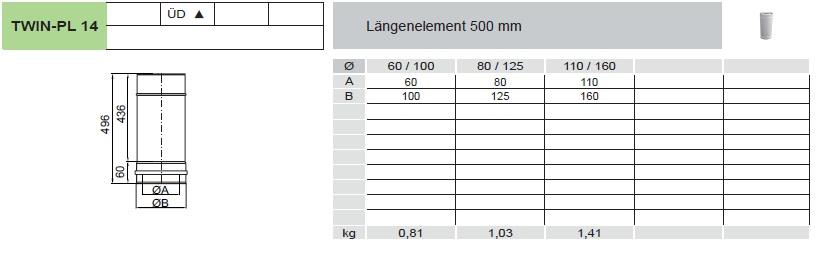 Längenelement 500 mm - konzentrisch für Tecnovis TWIN-PL
