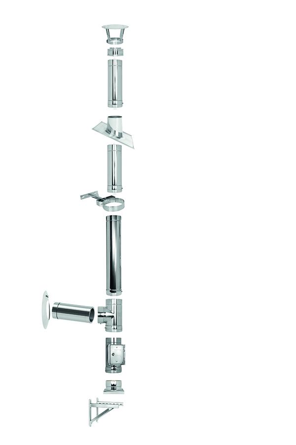 Lackierter Edelstahlschornstein doppelwandig Ø 130 mm  - Tecnovis TEC-DW-Standard