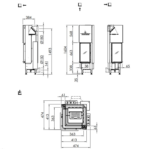 Kamineinsatz SPARTHERM Arte 2LRh-66 6,4kW Eckkamin Schiebetür