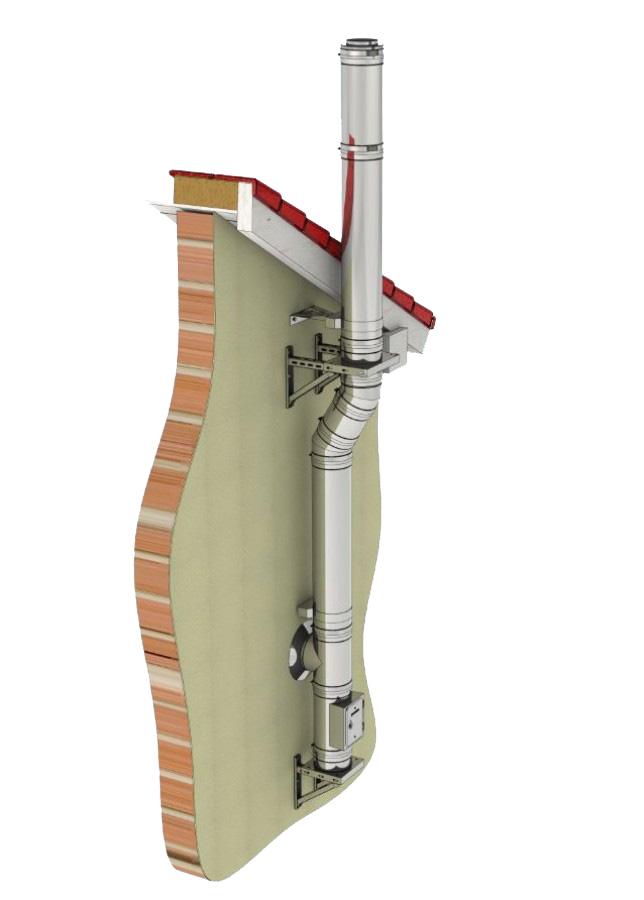 Edelstahlschornstein Bausatz Ø 250 mm / doppelwandig / Tecnovis TEC-DW-Standard