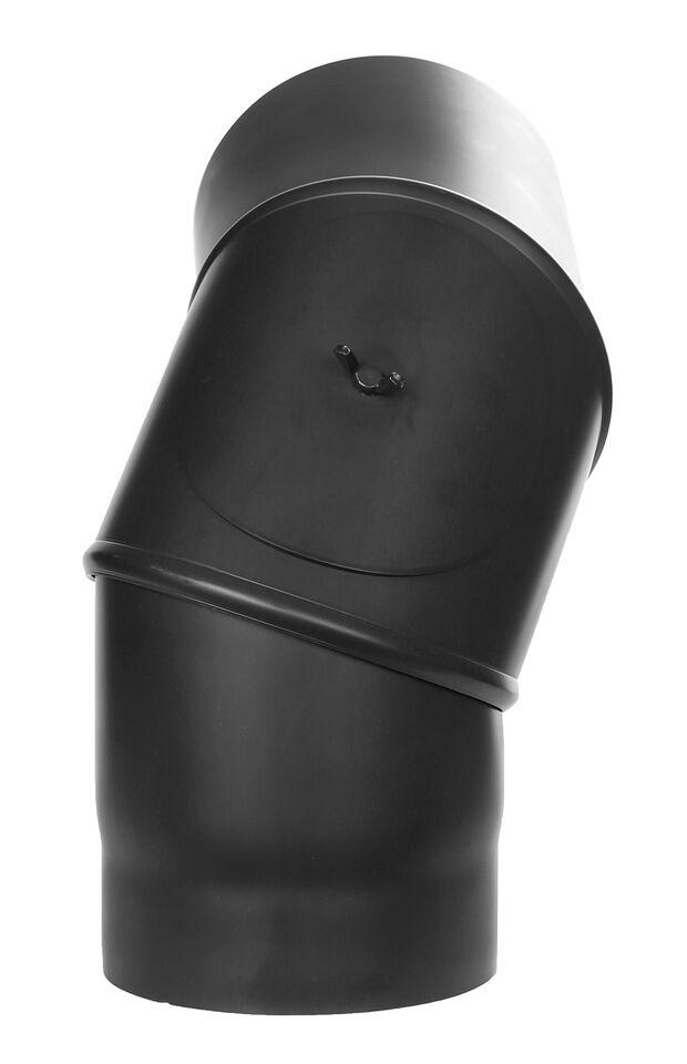 Ofenrohr - Winkel drehbar 0-90° mit Tür schwarz - Tecnovis TEC-Stahl