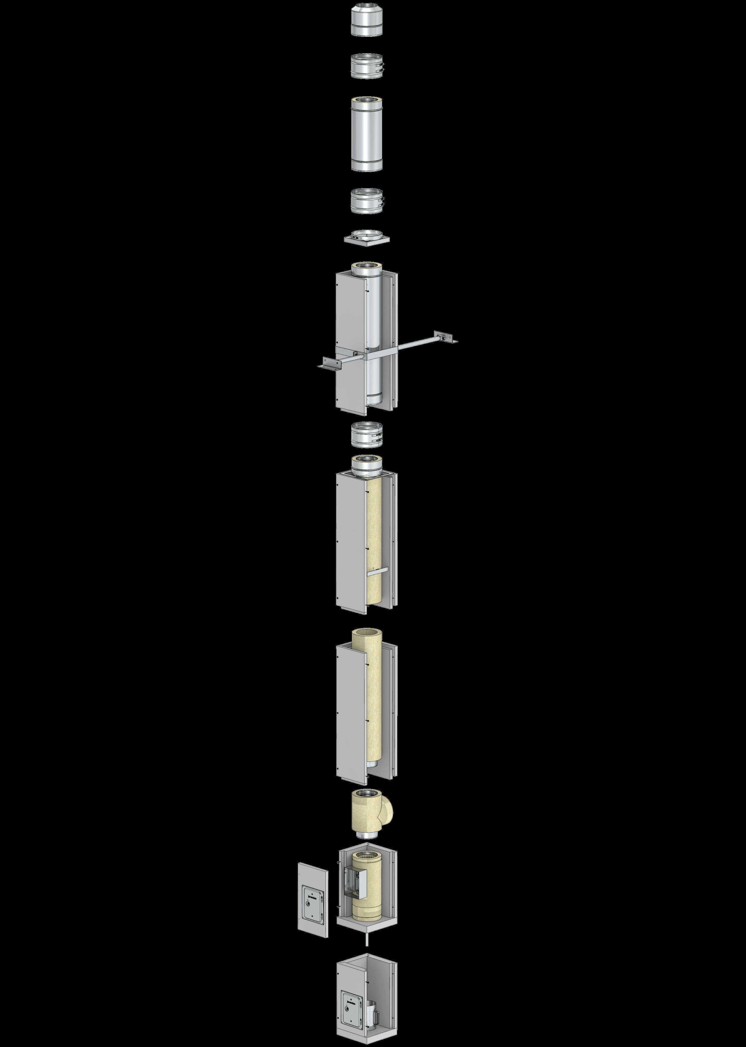 Leichtbauschornstein F90-Bausatz Wohnzimmervariante mit Innenrohrdurchmesser 200 mm – Tecnovis