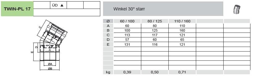 Winkel 30° starr - konzentrisch für Tecnovis TWIN-PL