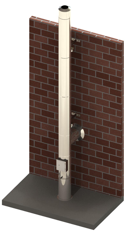 Edelstahlschornstein Ø 130 mm  / doppelwandig / Tecnovis TEC-DW-Design